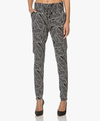 JapanTKY Yogi Broek Dessin - Black Leaves
