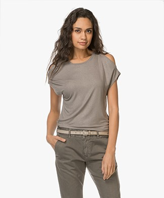 Majestic Cold Shoulder T-shirt - Metal Antic Zilver