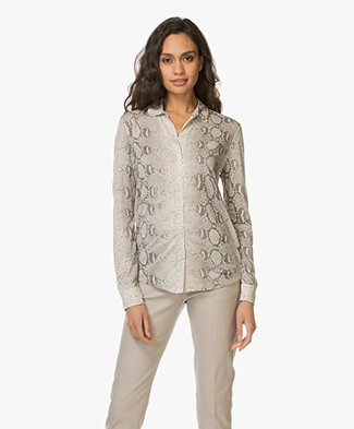 Majestic Jersey Printed Blouse in Silk - Milk/Rock