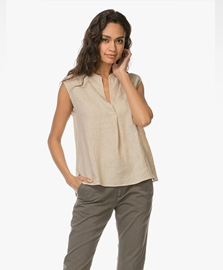 Majestic Sleeveless Linen Blouse - Dune