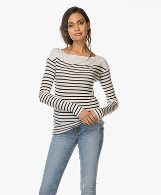 Rag & Bone Striped Madison Longsleeve - Ivoor/ Navy