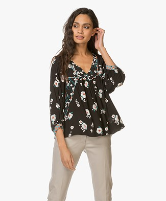 Ba&sh Bright Viscose Floral Print Blouse - Black