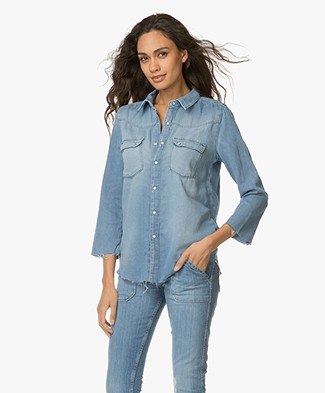 Ba&sh Cotton Denim Blouse - Light Used Blue