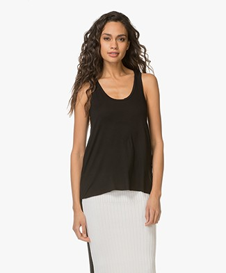 Majestic Filatures U-neck Top in Viscose Jersey - Black