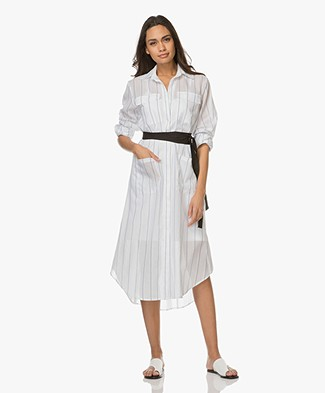 Matin Studio Long Cotton Shirt Dress - White Stripe