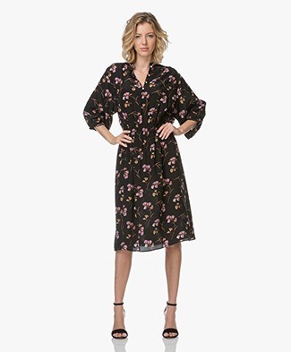 Vanessa Bruno Indiaka Floral Printed Silk Dress - Black