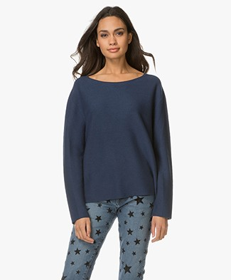 Drykorn Melbi Rib Pullover with Cashmere - Blue