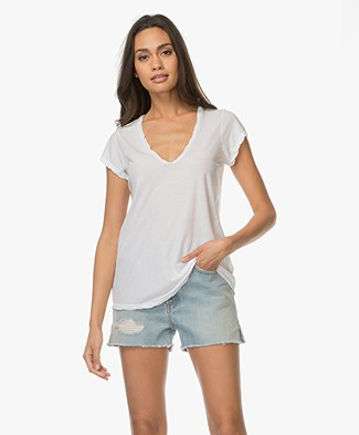 James Perse V-hals T-shirt in Extrafijne Jersey - Wit