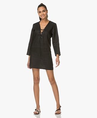 Matin Studio Linnen Mini-jurk met Vetersluiting - Zwart
