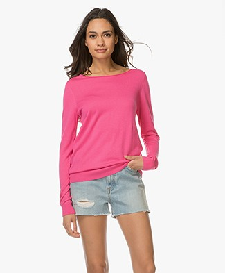 Repeat Cotton Blend Pullover - Magenta