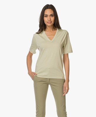 Joseph V-neck T-shirt in Mercerized Jersey - Pea