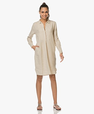 LaSalle Pure Linen Shirt Dress - Sand