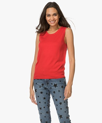 Repeat Sleeveless Cotton Blend Pullover - Red