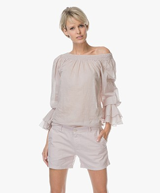 BRAEZ Bianca Off-shoulder Blouse in Cotton - Earth