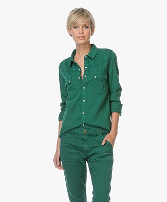 Ba&sh Cotton Popper-button Blouse - Vert