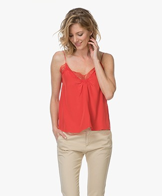 Ba&sh Songe Camisole in Pure Silk - Rouge