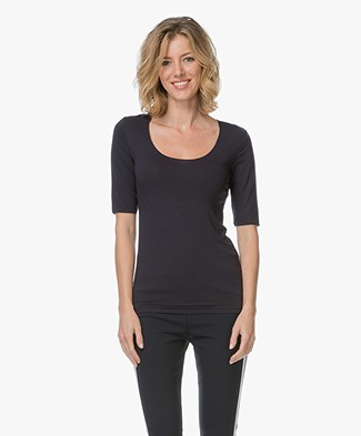 Majestic Soft Touch T-shirt met Halve Mouw - Marine