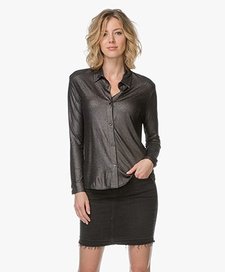 Majestic Superwashed Jersey Blouse - Metallic Black