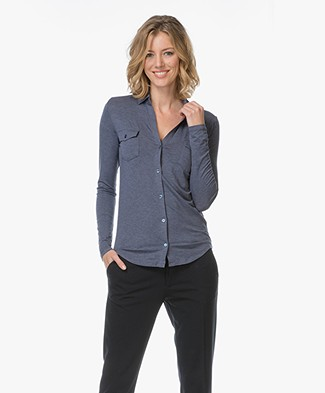 Majestic Viscose Jersey Blouse - Denim Chiné