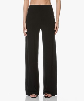 Norma Kamali Travel Jersey Straight Leg Pants - Black