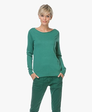 Repeat Cotton Blend Pullover - Emerald Green