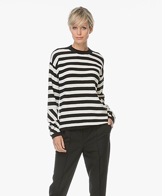 Joseph Pique Knit Striped Sweater - Black