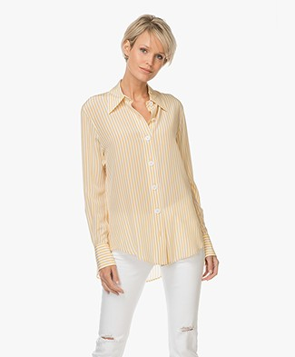 Joseph Deck Chair Stripe Silk Blouse - Custard