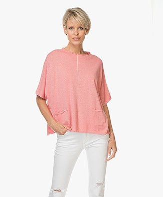 Repeat Cotton Blend Oversized Top with Pockets - Coral