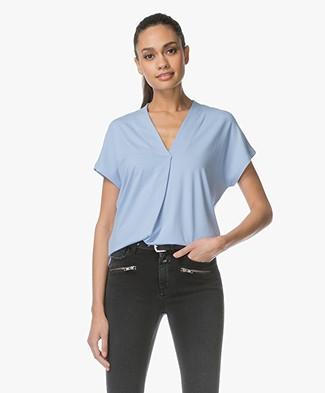 Kyra & Ko Pien V-neck T-shirt in Viscose - Light Blue