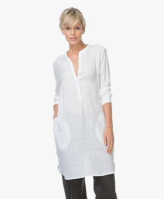 Majestic Linen Tunic Dress with Mao Collar - White