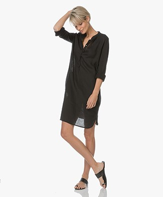Majestic Linen Tunic Dress with Mao Collar - Black