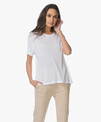 ANINE BING Silk Crew Neck T-Shirt - White