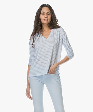 Closed Burnout Striped Long Sleeve - Blue Cadillac