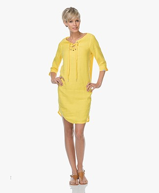 Josephine & Co Lenni Linen Dress with Lace Closure - Yellow