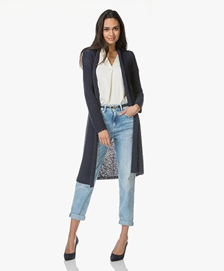 Kyra & Ko Neo Long Tape Yarn Cardigan - Navy