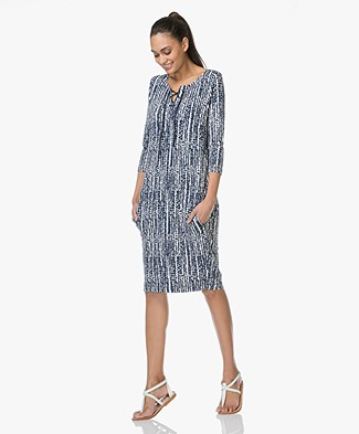 Kyra & Ko Juul Print Dress with Lacing - Navy