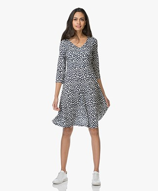 Kyra & Ko Kim Printed Fit & Flare Dress - Navy