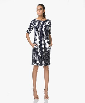 Kyra & Ko Noa Jersey Dress with Jacquard Print - Navy