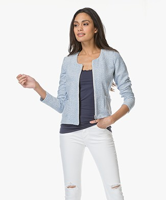 Kyra & Ko Saar Jacquard Jacket - Light Blue/Off-white