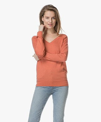 Marie Sixtine Andy V-neck Pullover with Silk - Terracotta