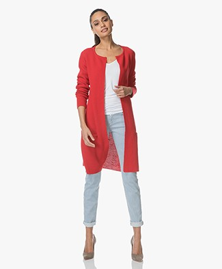 Sibin/Linnebjerg Mary Merino Blend Open Cardigan - Red