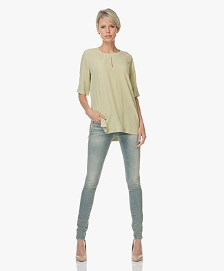 Joseph Miro Silk Blouse with Half Sleeves - Pea