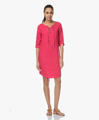 Josephine & Co Lenni Linen Dress with Lace Closure - Magenta
