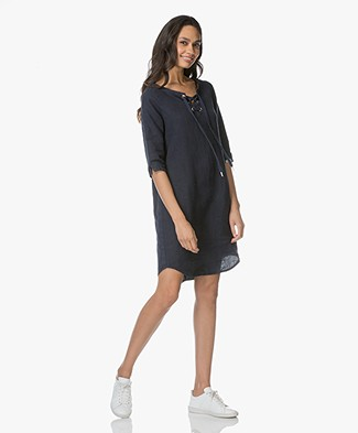 Josephine & Co Lenni Linen Dress with Lace Closure - Navy