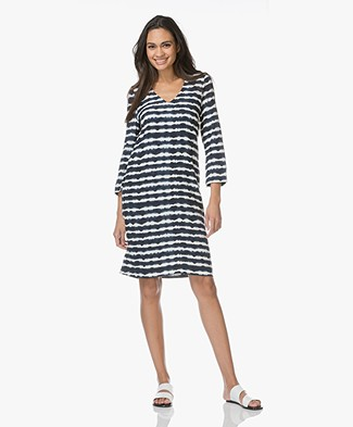 Kyra & Ko Hanna Viscose Print Dress - Navy