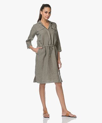 LaSalle Linen Shirt Dress - Khaki Green