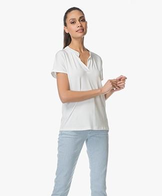 LaSalle Tencel T-shirt with V-slit - Panna