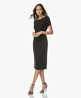 Norma Kamali Shirred Travel Jersey Dress - Black