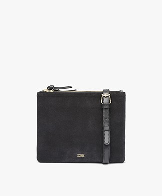 Closed Suede Leather Shoulder Bag - Black