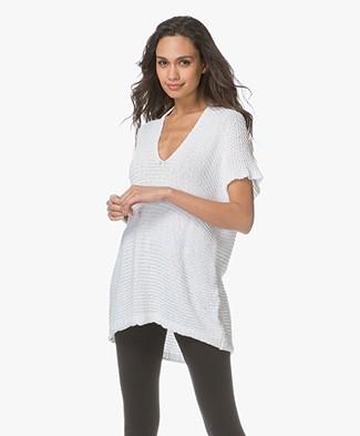 BRAEZ Kenzo Knitted Short Sleeve Sweater - White
